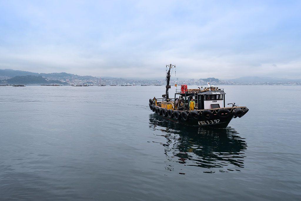 Barco pesquero se aproxima al puerto de Moaña en la Península de Morrazo.