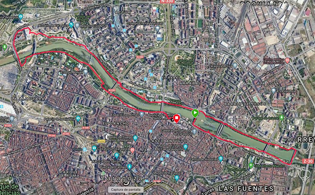Mapa ruta en bici por Zaragoza